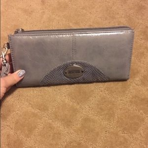 Women's grey leather long wallet